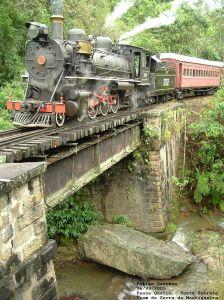 Locomotiva 332 na Ponte Estrela em Passa Quatro MG, Trem da Serra da Mantiqueira