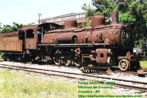 Locomotiva 522 em Cruzeiro antes do inicio da reforma