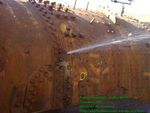 Com aumento da pressão, vazamentos começam a surgir, na foto, um dos estais esta quebrado e vazando.