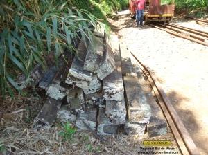 Parte dos dormentes removidos da ponte.