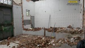 Início das obras de construção do novo banheiro feminino; o antigo banheiro, além de não oferecer condições higiênicas adequadas, era muito pequeno e por consequência não conseguia absorver a demanda foi ampliado