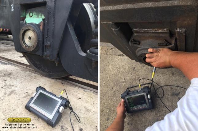 Realização de ultrassom por engenheiro da ABPF nos truques do carro